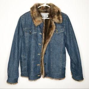 Marvin Richards denim jean jacket faux fur medium